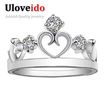 One Piece Crown Rings for Women Simulated Diamond Jewelry Ring Bijoux Vintage Anel Feminino for Wedding Jewellery Ulove J412(China (Mainland))