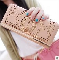 5Colors Women female leather long hollow brand designer crown wallets clutch purse carteira bolsas feminina couro de marca 5