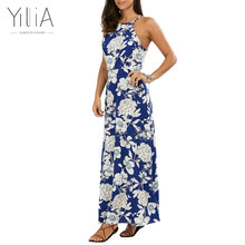 Buy Yilia 2017 Boho Style Long Dress Women Beach Summer Dresses Floral Print Vintage Blue Maxi Vestidos De Festa Sleeveless Sexy New for $13.19 in AliExpress store