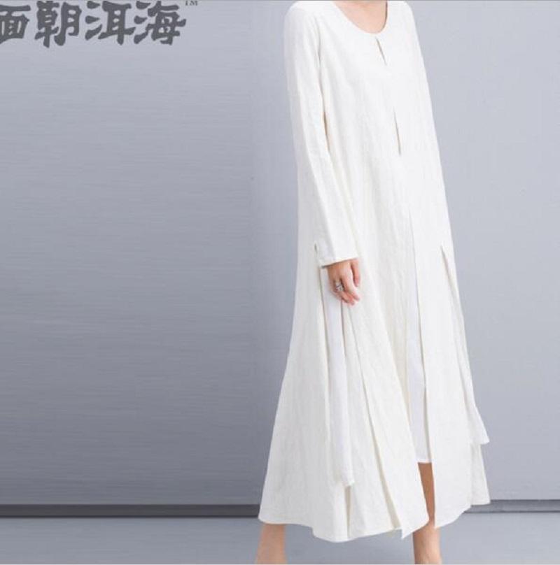 D008 2016 brief design women's fashion Solid spring casual patchwork maxi Dress Cotton linen Boho long white Dresses Vestidos(China (Mainland))