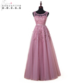 Robe De Soiree Longue New Pink Lace Beaded Long Evening Dress 2016 Sexy Illusion A Line
