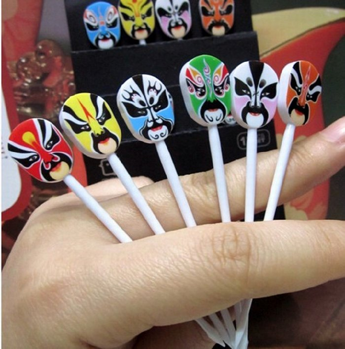 Opera mask fruit fork pastry fork fruit sign unique small gift(China (Mainland))