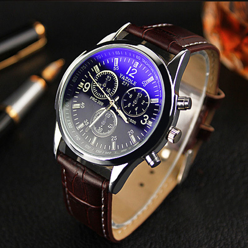 Гаджет  Top 2015 Casual Brown Men Watches Luxury Analog Quartz Watch Fashion Male Genuine Leather Business Wristwatch Relojes hombres A7 None Часы