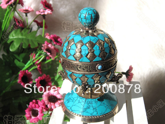 TBC954 Tibetan Brass Inlaid Turquoise Dorje Antiqued big Stand Prayer Mani Wheel,Tibet collectibles,110X65mm,Free shipping(China (Mainland))