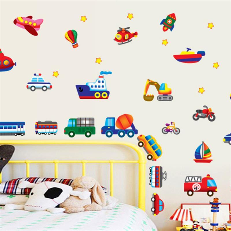 Children 39 S Bedroom Wallpaper Cartoon Car Wall Decal Home Decoration