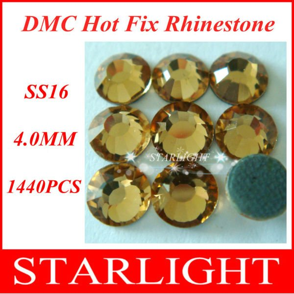 Fast Delivery,FREE SHIPPING,DMC hot fix rhinestone,Lt. col. Topaz Color SS16,China post air mail free,1440pcs/lot star15(China (Mainland))
