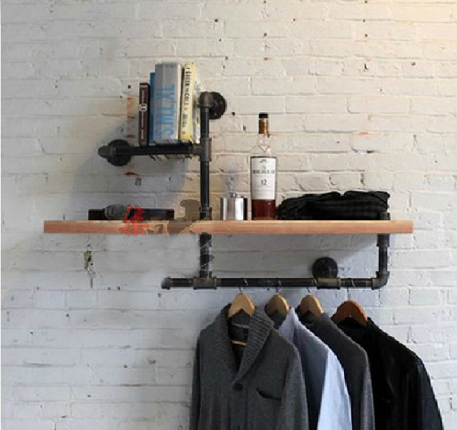 Wood Size 45*15cm Vintage Clothing Display Clothing Store Shelf Hangers Industrial Wrought Iron Clothing Rack Pipes Shelf -Z3(China (Mainland))
