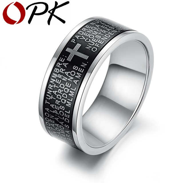 OPK JEWELRY Religious Cool Men Cross Ring The Bible Cross Finger Rings Carved Scriptures And Cross Mark Free Shipping 279