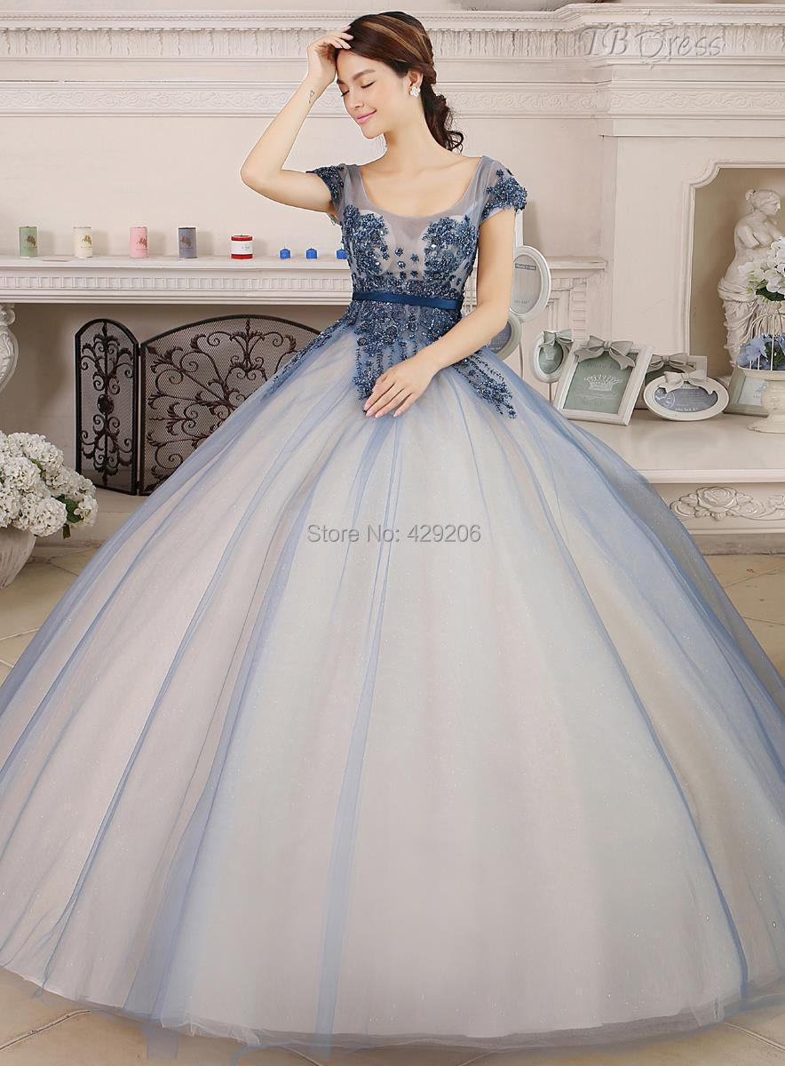 Elegant Light Blue Ball Gown Quinceanera Dresses 2016 Spring Scoop Neck Appliques Short Sleeves See Through Lace Floor-Length()