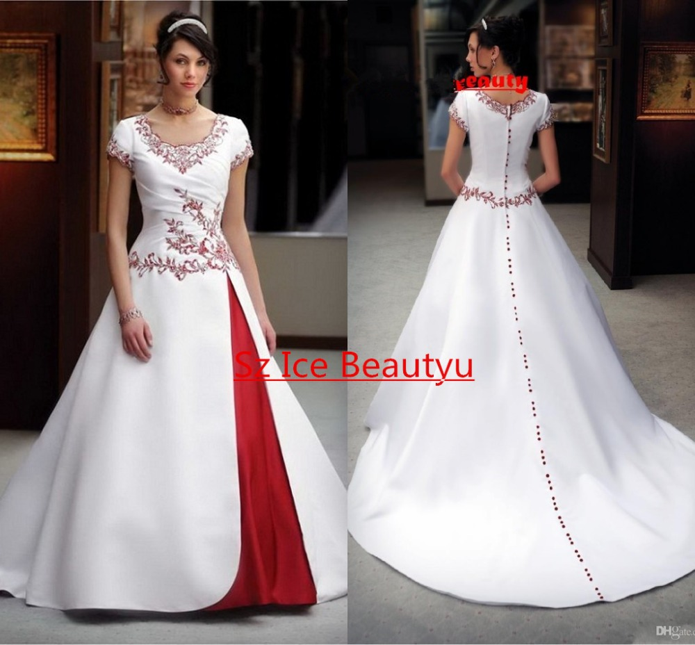Vintage a line gothic wedding dresses in red and white for Short red and white wedding dresses