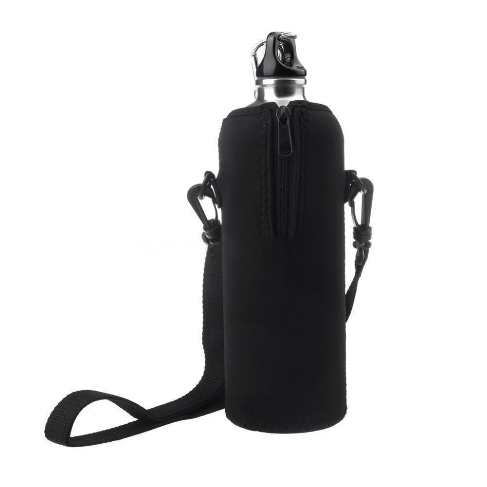 1000ml Water Bottle Cover Bag Pouch w/Strap Neoprene Water Bottle Carrier Insulated Cover Bag Pouch Holder Shoulder Strap Black(China (Mainland))