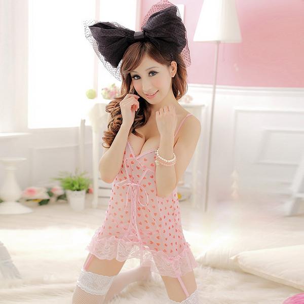 Women Pink Seductive Sexy Lingerie Heart Pattern Chiffon Nightgown +G-String Set 2 Pcs(China (Mainland))