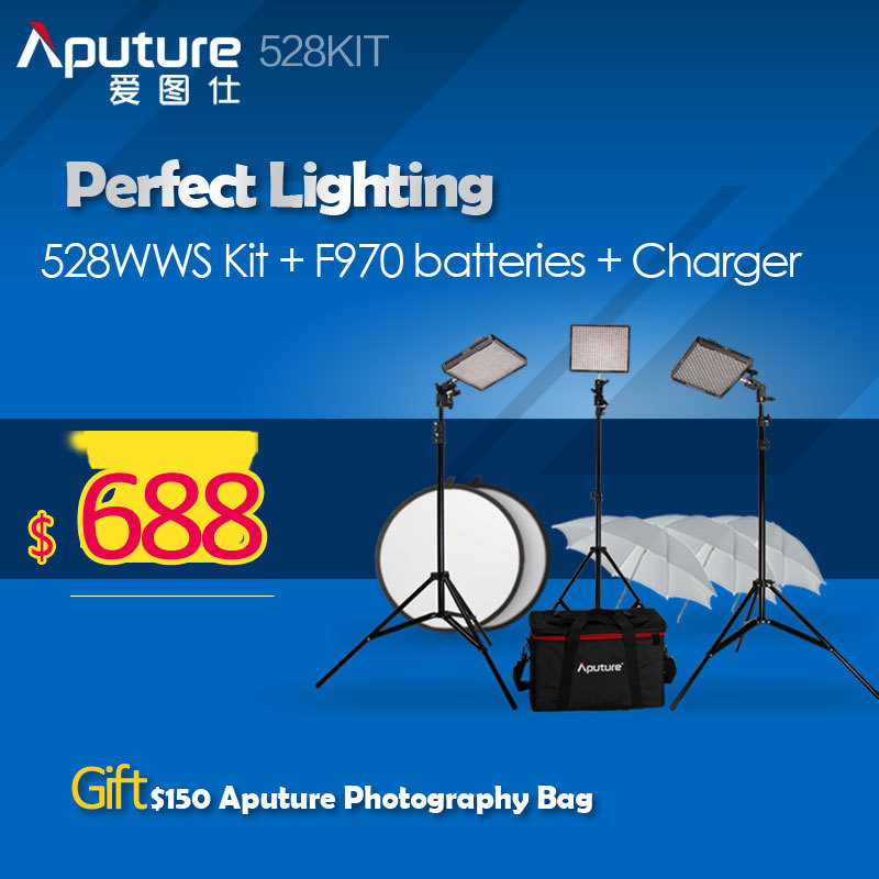 Aputure 528 CRI95+ LED Video Light Photography Video Light Studio Light Kit 528WWS Kit 3 lights and F970 Batteries and Charger <br><br>Aliexpress