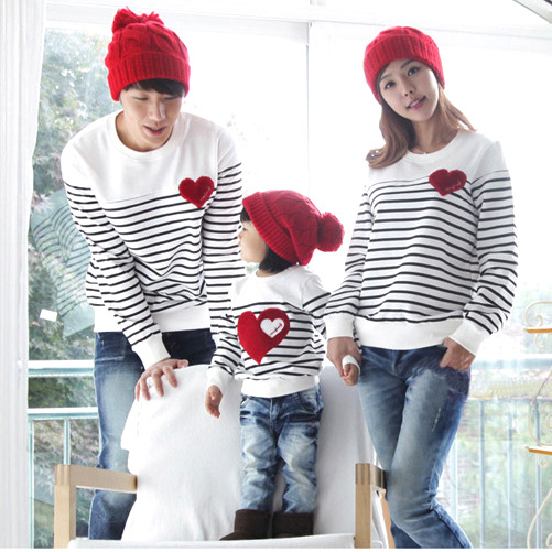 Family fashion Autumn/Winter/Spring family pack cotton set mother/child clothes, mother and daughter striped long-sleeve T-shirt(China (Mainland))