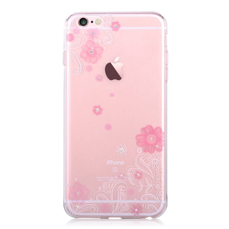 For iPhone 6s/6 4.7-inch Phone Cases Devia for iPhone 6s 6 Shell Swarovski Diamond Flower Crystal TPU Phone Cover Case - Pink(China (Mainland))