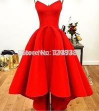 Short Front Long Back 2017 Evening Dresses Ball Gown Sweetheart Ankle Length Satin Long Evening Gown Prom Dresses Prom Gown(China (Mainland))