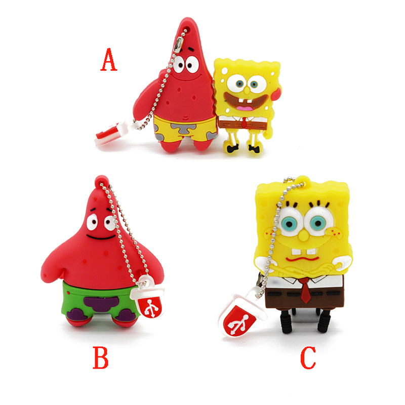 lovely disk mini pen drive SpongeBob gift pen drive 4gb 8gb 16gb 32gb sponge bob cartoon usb flash drive pendrive(China (Mainland))
