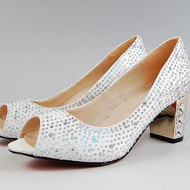 Comfortable Wedding Shoes - Peep Toe White Satin Bridal Wedding Shoes Rhinestone Chunky Heel Comfortable Women Dress Shoes Kitten Heel