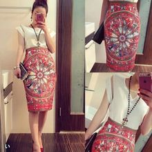2016 Summer Vintage Fashion Pencil Skirt Midi Women Knee-Length Elastic High Waist Printing Saias Femininas