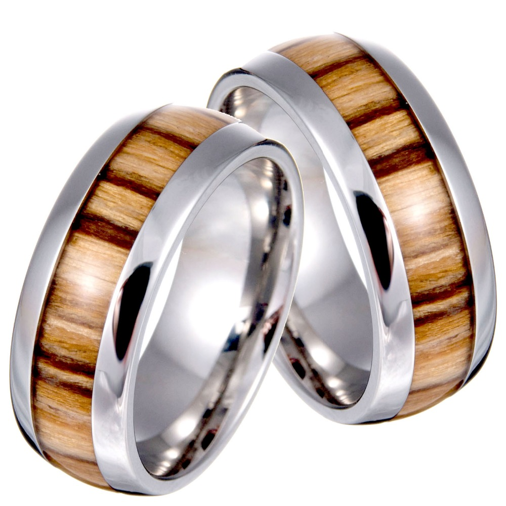 New Arrival Never Fade Vintage Titanium stainless steel ring wood grain ring for men(China (Mainland))