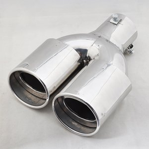 Stainless Steel Exhaust Muffler Dual Tips 30-45mm Inside Dia Twin Double [CP568](China (Mainland))