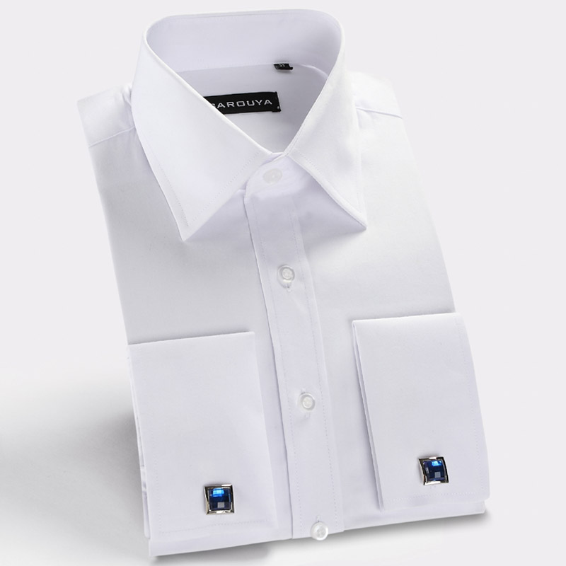 Mens white french cuff dress shirt with cufflinks men for French cuff slim fit dress shirt