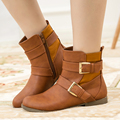 Handmade Plus Size Fashion Buckle Flat Shoes Woman Leather Ankle Boots Black Comfort Winter Autumn Casual