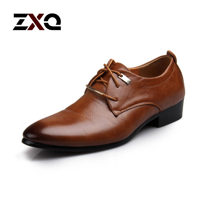 Men Leather Shoes Lace-Up Pointed Toe Fashion Brand Men Dress Shoes Flat Wedding Business Men Shoes