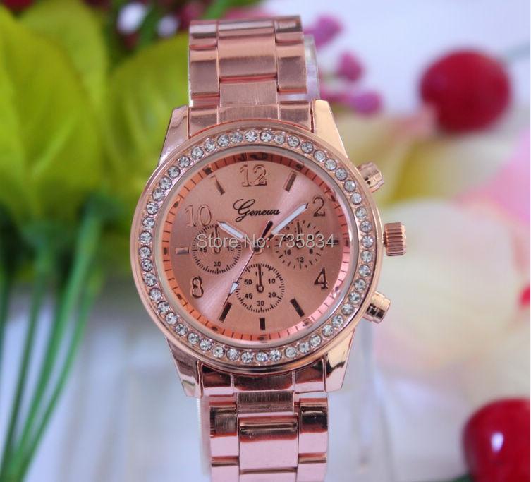 Wholesale - 100pcs/lot Mix 3colors Geneva Diamond Stainless SteelWrist watch rhinestone diamond watch GW152<br><br>Aliexpress
