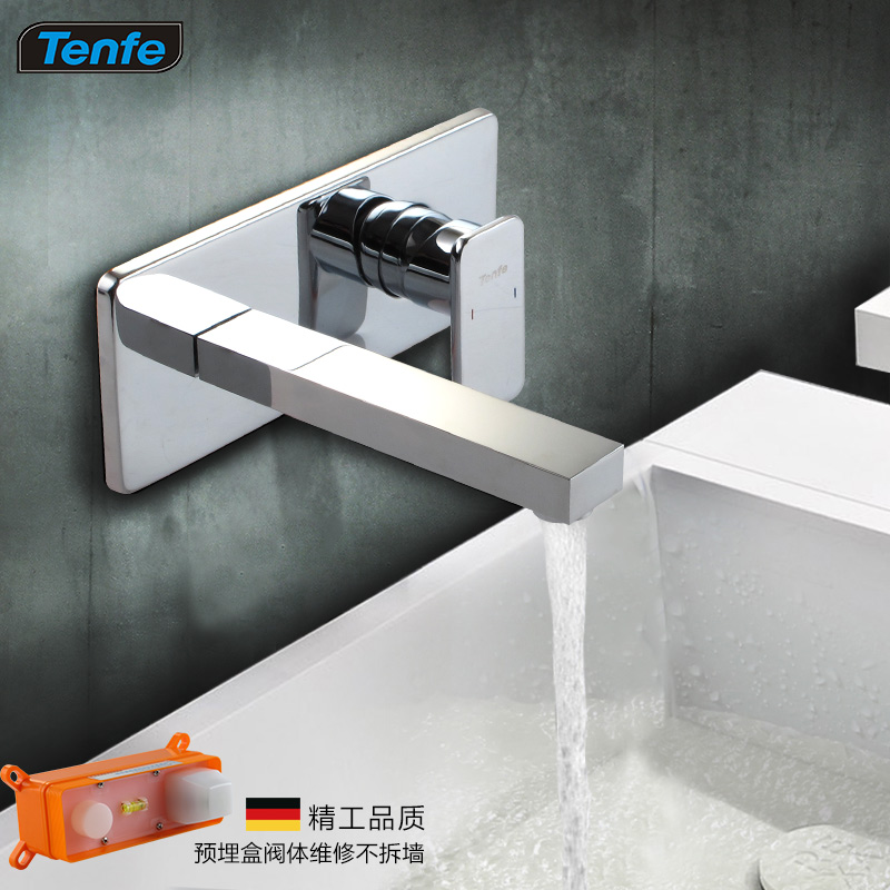 Tenfe Full copper basin mixer for concealed installation into the wall embedded box washbasin hot and cold taps TF6210<br>