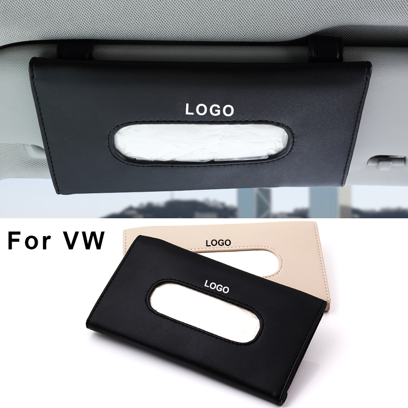 2016 New Car Styling Sun Visor Tissue Box Auto Accessories holder Paper napkin Clip- PU leather Case For VW Hanging Box<br><br>Aliexpress