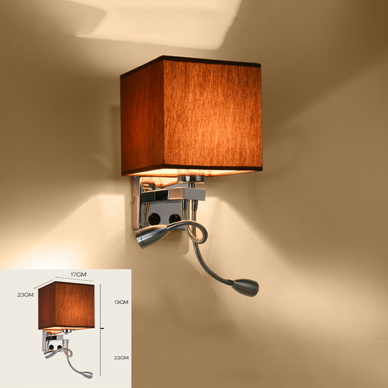 Modern wall sconce with switch wall bed lamps 1 or 2 pcs 1w led reading light hose rocker arm Reading lighting fabric lampshade(China (Mainland))