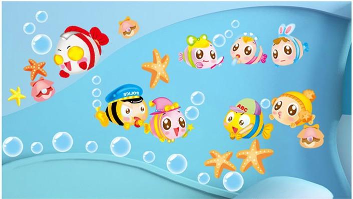 nemo sea cartoon cute baby room bathroom home decoration wall stickers kids furniture bedroom decor wall art designer decals(China (Mainland))