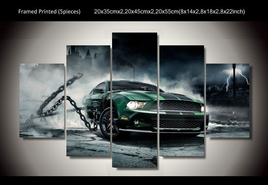Framed Printed mustang shelby Car 5 piece picture painting wall art children's room decor poster canvas Free shipping/up-333(China (Mainland))