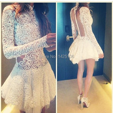 High Neck Vestidos De Cocktail White Long Sleeve See Through Short Cocktail Dresses A Line Lace Sexy Party Dresses Women 2014(China (Mainland))