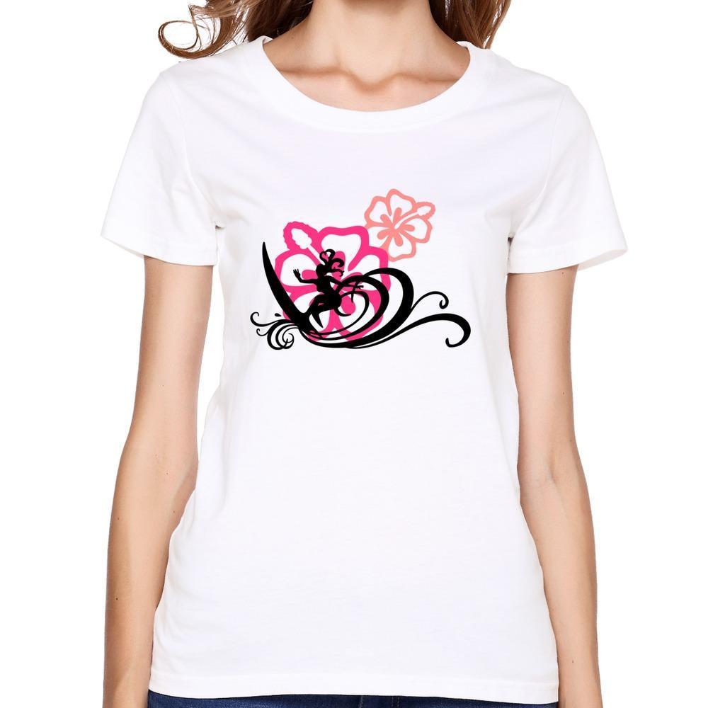 new brand surfing girl hawaii t shirt cartoon short sleeve