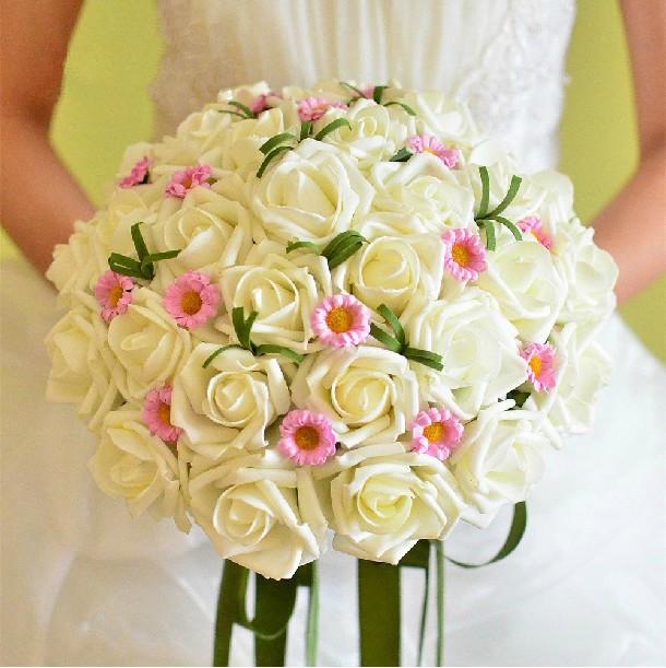 Free Shipping Hot Sale Silk Artificial Bride Hands Holding Rose Flower Bridal Bouquet Wedding