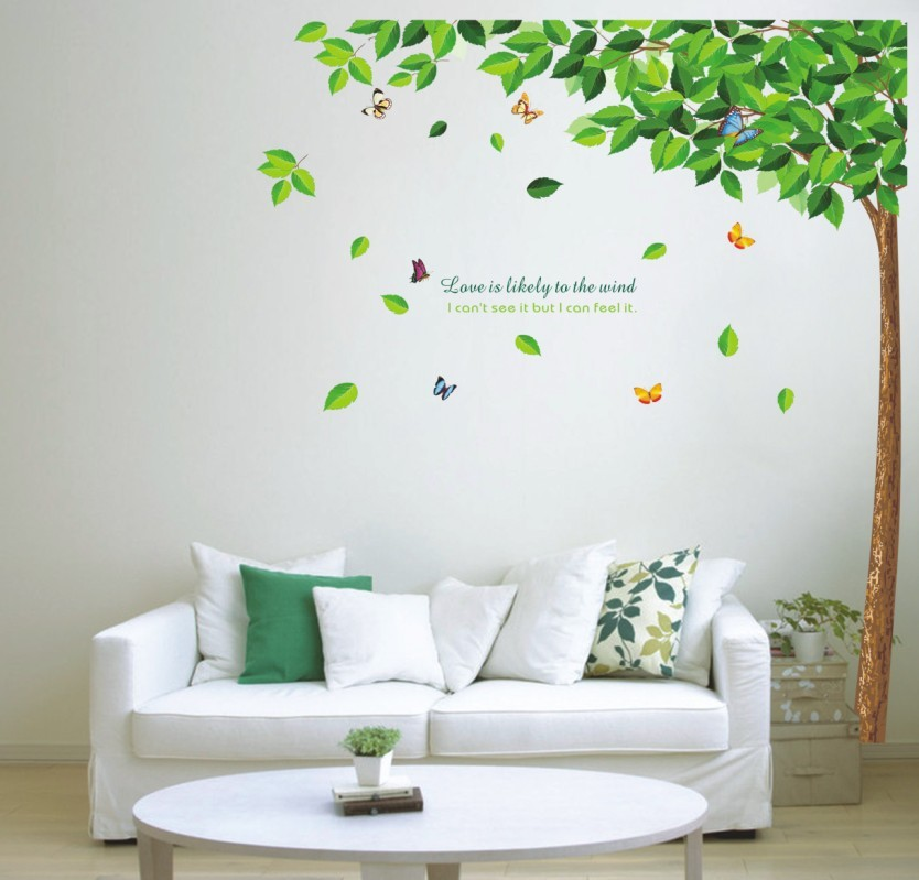 2016 Green tree Butterfly Photo Wall Sticker Wall Decal Poster Photo Picture Frame Base Art DIY Home Decor better than Wooden(China (Mainland))