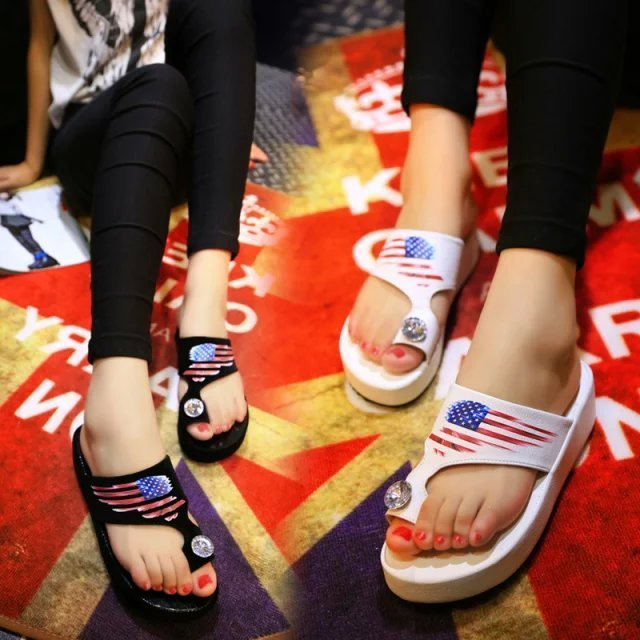2015 xiaxin fashion bling rhinestone toe-covering flip women's shoes national flag platform flip-flop slippers wedges female(China (Mainland))