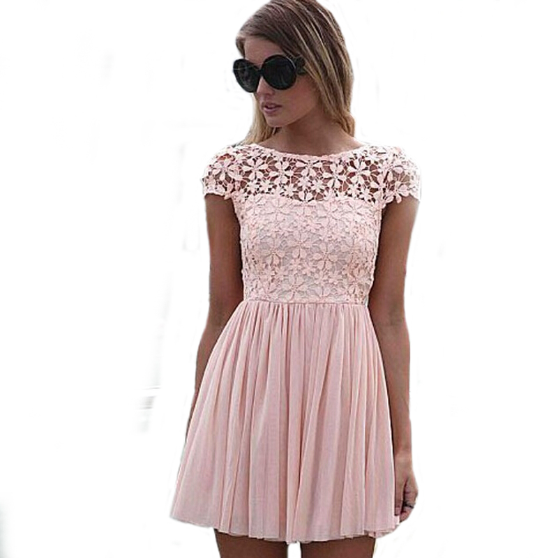 Fashion Chiffon Lace Dree Womens Summer 2015 Sexy Backless Hollow Crochet Short Sleeve Dresses Ladies 4 Colors S-XL - Miss Memory store