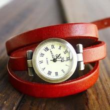 Hot venda vaca Genuine couro vintage longo feminina relógio de quartzo ROMA relógio digital mulheres se vestem relógios