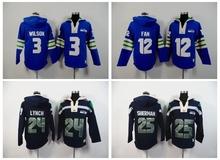 Seattle Seahawks,Marshawn Lynch,Richard Sherman,Russell Wilsons,Earl Thomas FAN Sweater hoodies(China (Mainland))
