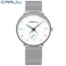 Crrju relojes de moda de hombre de marca superior reloj de cuarzo de lujo Casual delgado de malla de acero impermeable deportivo(China)