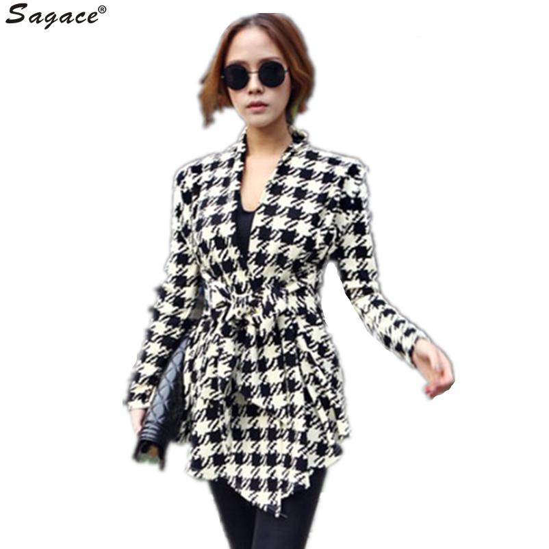 Sagace Korean Style Womens Houndstooth Pattern Thin Cardigan Coat Fashion Lady Asylummetric font b Plaid b