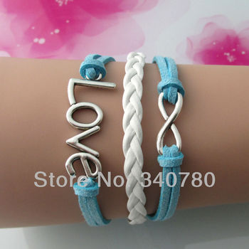 designer jewerly women 2015 ladies bangles silver-plated love infinity charm bracelets leather bracelets with chain new design