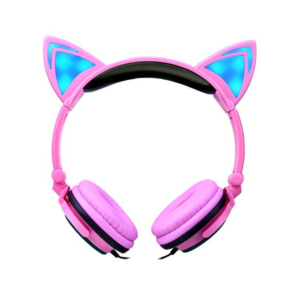 Leegoal Cute Cat Ear Earphones Boy Girl Kids Children Foldable Headphones Glowing Headset with LED Light For PC Mobile Phone MP3(China (Mainland))