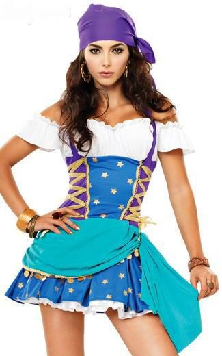 New Design Hot Sale Sexy Gypsy Halloween Costume 4F1203 Fancy Costume For Girls+Free shipping(China (Mainland))