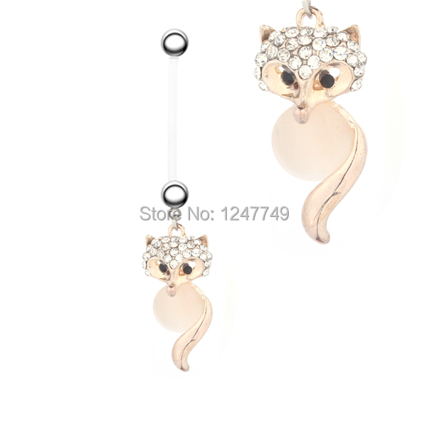 1PC Fashion Fox Surgical Steel Barbell Navel Belly Button Rings Bar Body jewelry Piercing For Pregnancy Women Sexy Soft Pregnant(China (Mainland))