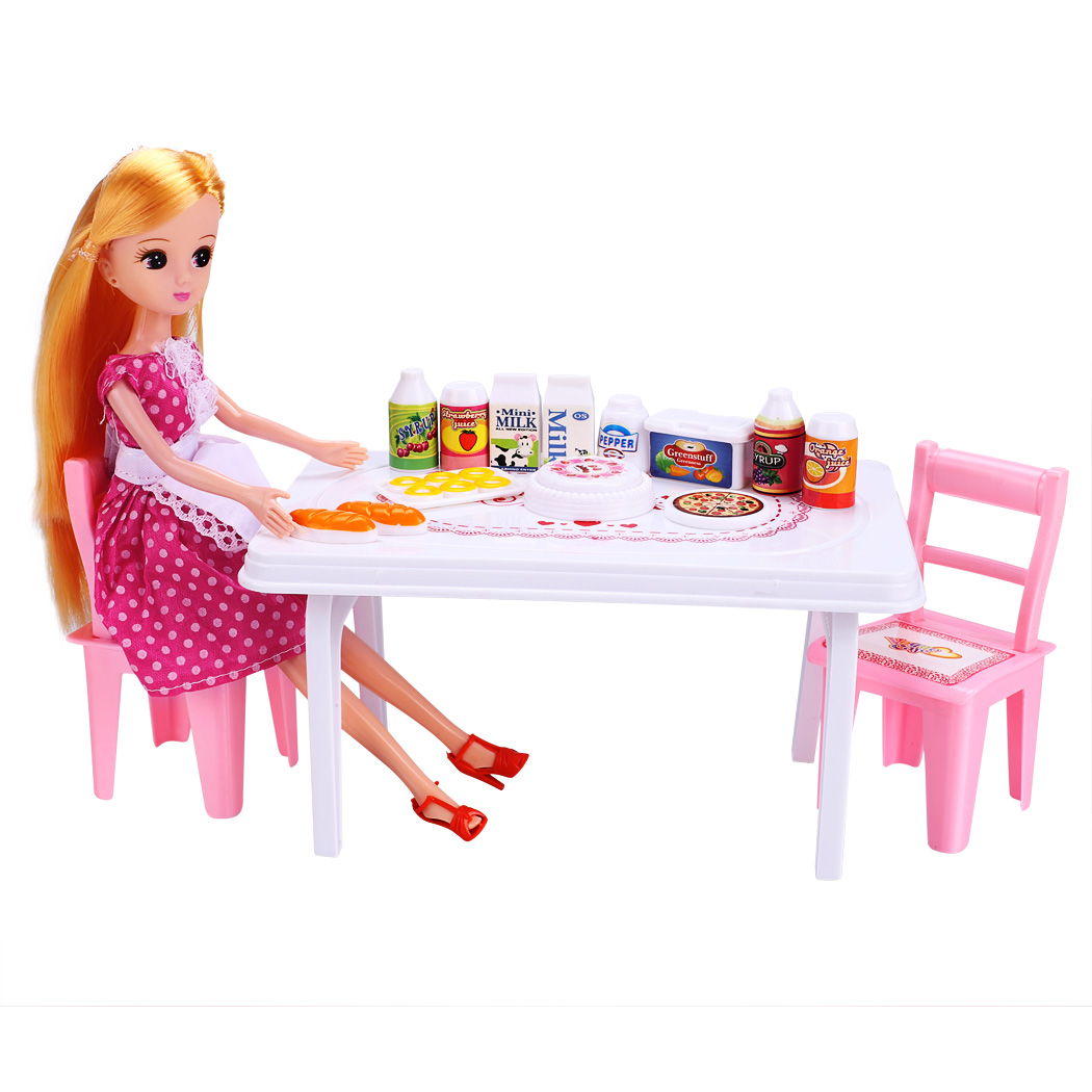 Baby Kids Doll Toys Set Party Dinner Table Chair with Drinks Foods Children Classic Toys Pretend Play Funny Toys(China (Mainland))