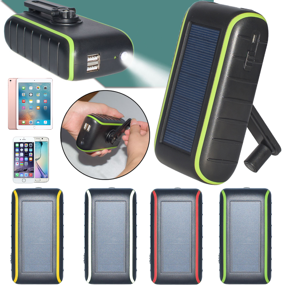 Hand Crank Solar Charger universal 5400mah solar powerbank new arrival product with solar panel and light Free shipping(China (Mainland))